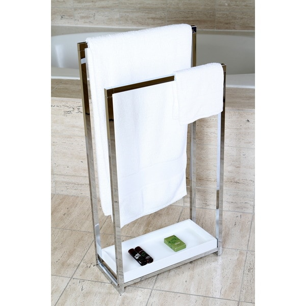 Chrome Pedestal 2 Tier Iron Construction Towel Rack Free