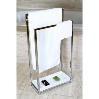 Chrome Pedestal 2 Tier Iron Construction Towel Rack