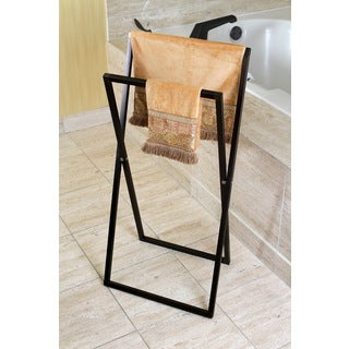 Pedestal Oil Rubbed Bronze Cross Style Iron Towel Rack