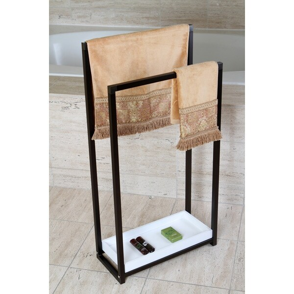 Oil Rubbed Bronze Pedestal 2-tier Iron Construction Towel Rack