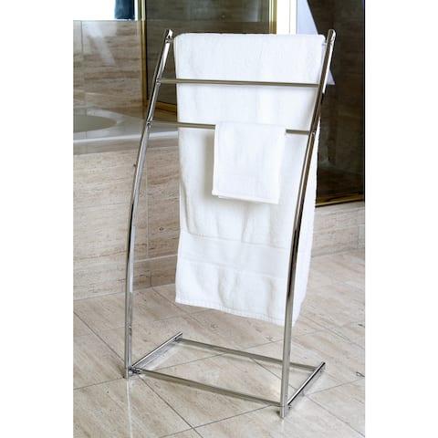 Pedestal Chrome Iron Towel Rack - silver