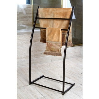 Oil Rubbed Bronze Pedestal Iron Construction Towel Rack