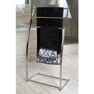 Brushed Nickel Pedestal Iron Construction Towel Rack - Grey