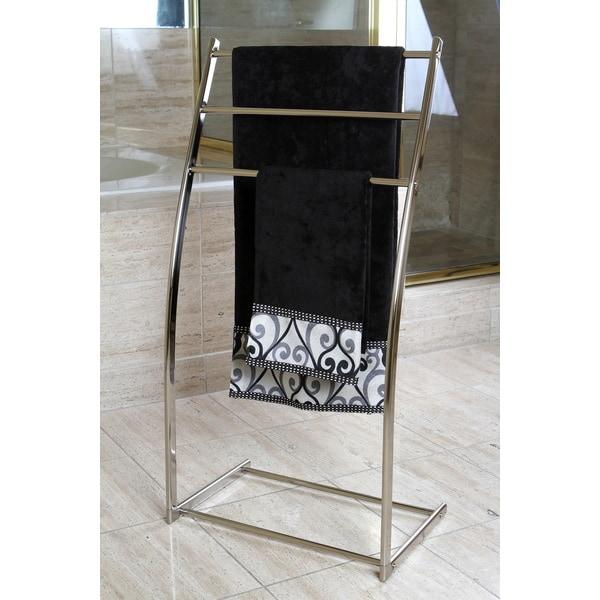 Shop Satin Nickel Pedestal Iron Construction Towel Rack