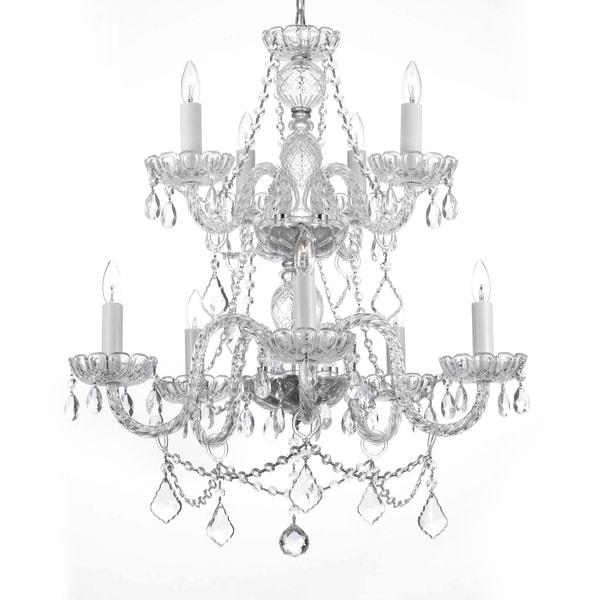 Gallery Venetian Style 9-light Silver Crystal Chandelier