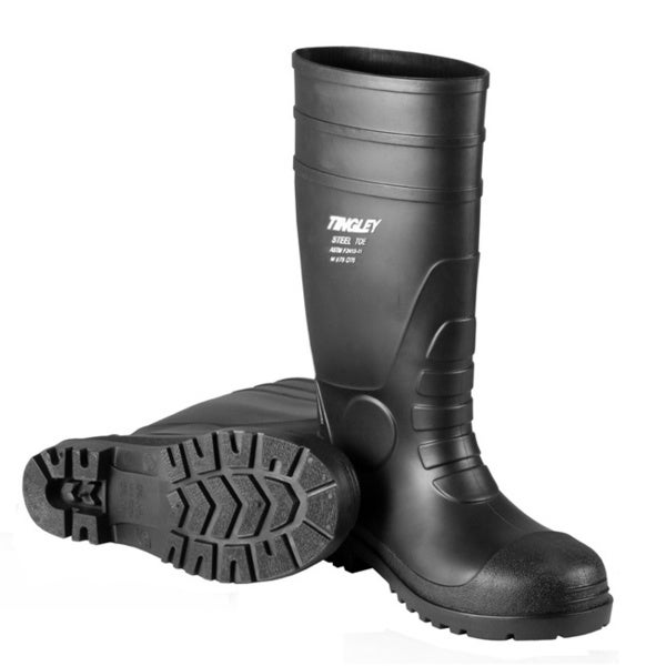 Men's Black PVC Regular Toe Knee-high Rain Boots - Free Shipping ...