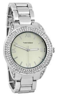 Vernier Women's Curve Case Stone Bezel Silver-Tone Bracelet Watch