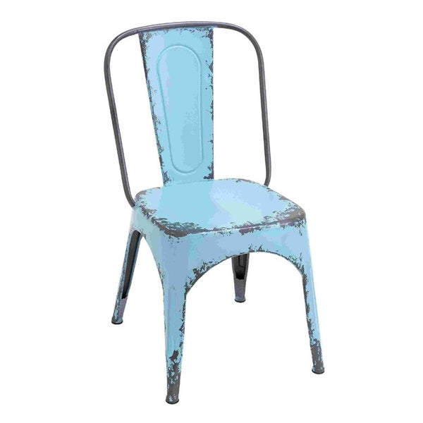 Weathered Blue Metal Chair