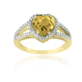 Glitzy Rocks 18k Gold Over Silver Citrine and Diamond Accent Heart Ring