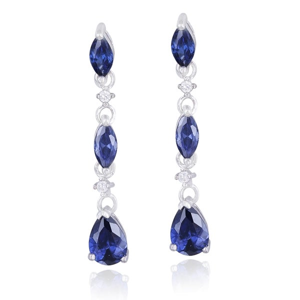 Icz Stonez Sterling Silver Marquise and Teardrop Cubic Zirconia Dangle Earrings