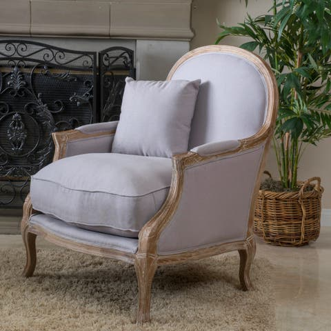 MacArthur Weathered Oak Natural Fabric Arm Chair by Christopher Knight Home