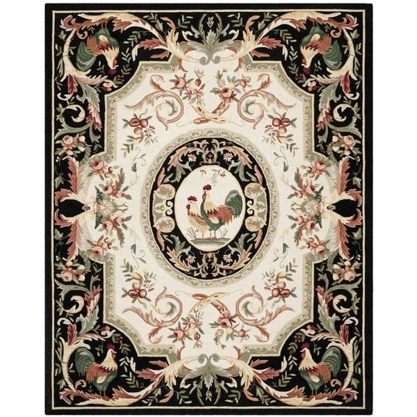 Safavieh Hand-hooked Chelsea Ivory/ Black Wool Rug - 7'9 x 9'9