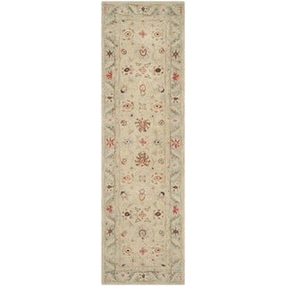 Safavieh Handmade Anatolia Oriental Natural/ Soft Turquoise Hand-spun Wool Rug (2'3 x 8')