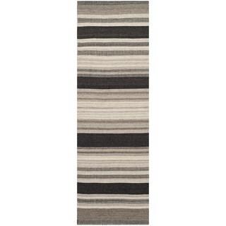 Safavieh Hand-woven Moroccan Reversible Dhurries Natural/ Black Wool/ Banana Silk Rug - 2'6 x 8'