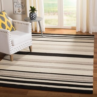 "Safavieh Hand-woven Moroccan Reversible Dhurries Natural/ Grey Wool/ Banana Silk Rug - 2'6"" x 8'"