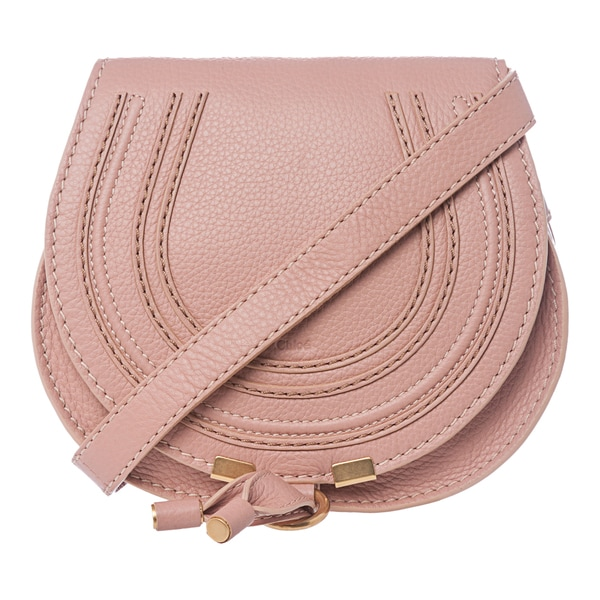 Chloe 'Marcie' Mini Dusty Pink Leather Round Crossbody Bag