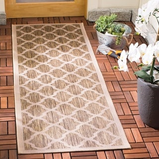 Safavieh Courtyard Moroccan Trellis Brown/ Bone Indoor/ Outdoor Rug - 2'3 x 10'
