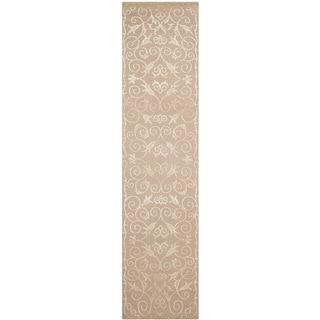 Safavieh Hand-knotted Tibetan Iron Scrolls Beige Wool/ Silk Rug (2'6 x 10')