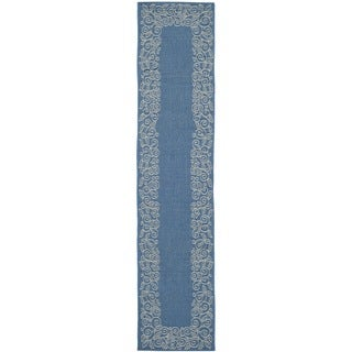 Safavieh Courtyard Scroll Border Blue/ Beige Indoor/ Outdoor Rug (2'4 x 12')