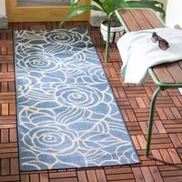 """Safavieh Courtyard Roses Blue/ Beige Indoor/ Outdoor Rug - 2'4"""" x 12'"""