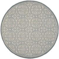 Safavieh Handmade Moroccan Cambridge Dusty Blue/ Grey Wool Rug - 4' Round