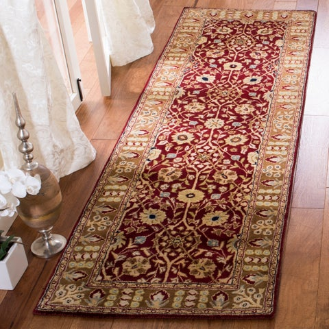 "Safavieh Handmade Persian Legend Red/ Light Brown New Zealand Wool Rug - 2'6"" x 12' Runner"