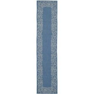Safavieh Courtyard Scroll Border Blue/ Beige Indoor/ Outdoor Rug (2'4 x 14')