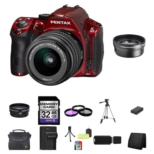Pentax K30 DSLR Camera Body and DA 18-55mm AL WR Zoom Lens 32GB Bundle