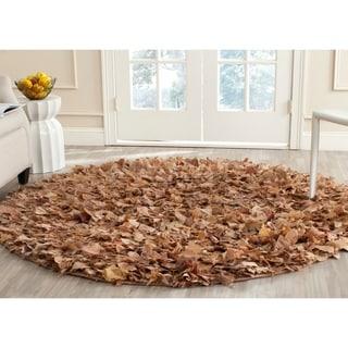 Safavieh Hand-woven Shag Natural Polyester Rug (4' Round)