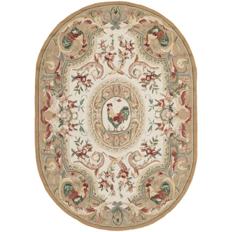 "Safavieh Hand-hooked Chelsea Taupe Wool Rug - 4'6"" x 6'6"" Oval"
