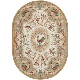 Safavieh Hand-hooked Chelsea Taupe Wool Rug (4'6 x 6'6 Oval)