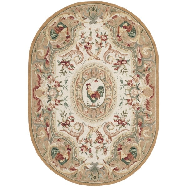 """Safavieh Hand-hooked Chelsea Taupe Wool Rug - 4'6"""" x 6'6"""" Oval"""