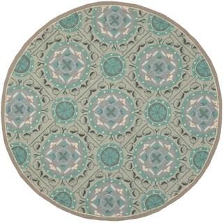 Safavieh Indoor/ Outdoor Four Seasons Mint/ Aqua Rug (6' Round)