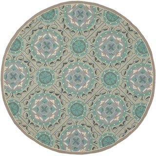 Safavieh Indoor/ Outdoor Four Seasons Mint/ Aqua Rug (4' Round)