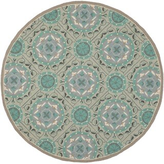 Safavieh Hand-Hooked Four Seasons Mint Green/ Aqua Blue Polyester Rug - 4' Round