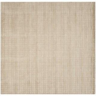 Safavieh Handmade Himalaya Beige Grid Wool Rug (7' Square)