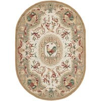 Safavieh Hand-hooked Chelsea Taupe Wool Rug - 7'6' x 9'6' oval