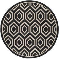 """Safavieh Courtyard Honeycomb Black/ Beige Indoor/ Outdoor Rug - 7'10"""" x 7'10"""" round"""