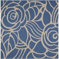 Safavieh Courtyard Roses Blue/ Beige Indoor/ Outdoor Rug - 7'10 Square