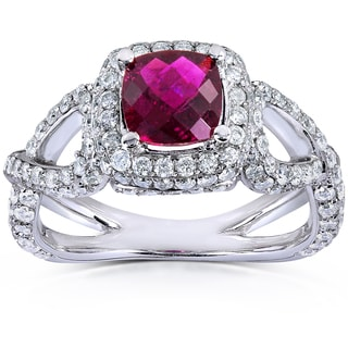 Annello by Kobelli 14k White Gold Pink Tourmaline and 1 2/5ct TDW Diamond Ring (H-I, VS1-