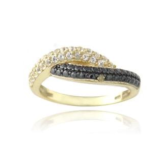 Glitzy Rocks Gold over Silver White Topaz and Champagne Diamond Accent Crossover Ring