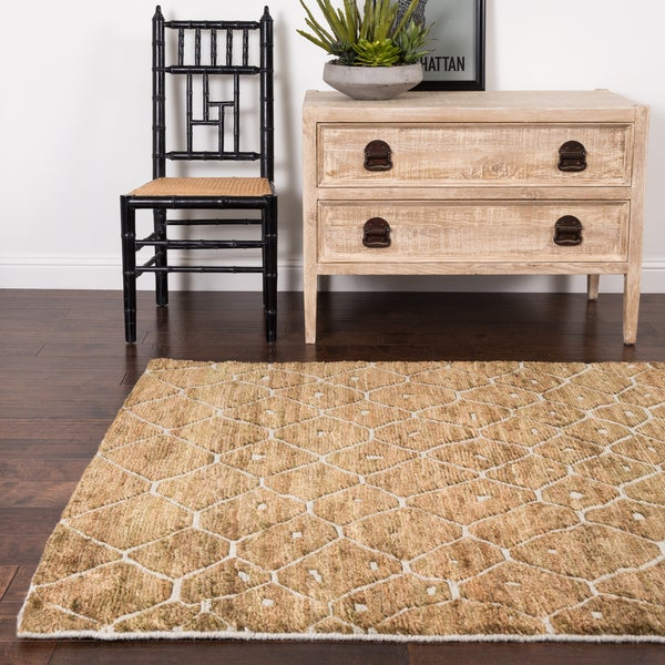 """Hand-knotted Natural/ Taupe Transitional Wool/ Jute Area Rug - 8'6"""" x 11'6"""""""