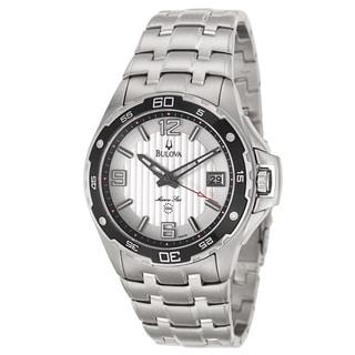 Bulova Men's 'Marine Star' Silver Stainless Steel Quartz Watch