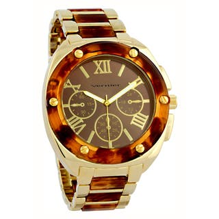 Vernier Women's Faux Chronograph Tortoise Goldtone Bracelet Watch|https://ak1.ostkcdn.com/images/products/8685028/Vernier-Womens-Faux-Chronograph-Tortoise-Goldtone-Bracelet-Watch-P15939299.jpg?impolicy=medium