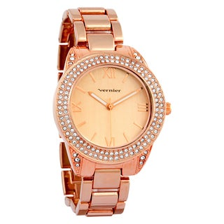 Vernier Women's Curve Case Stone Bezel Rose Goldtone Bracelet Watch
