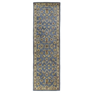 Hand-tufted Royal Taj Blue Wool Runner Rug (2'3 x 7'9)