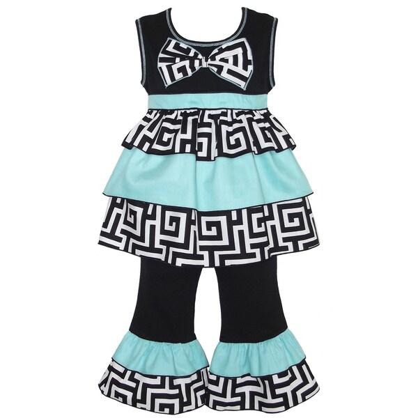 AnnLoren Girl's Geometric Rumba Tunic and Capri Set