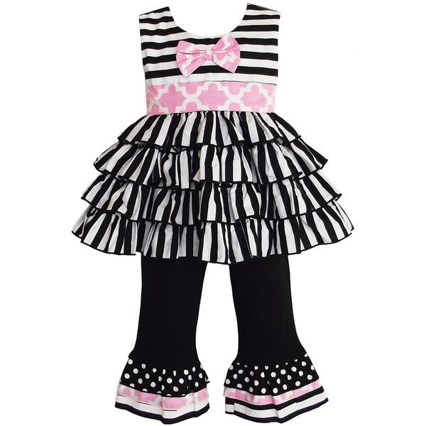 AnnLoren Girl's Black and White Striped Rumba Tunic and Capri Set
