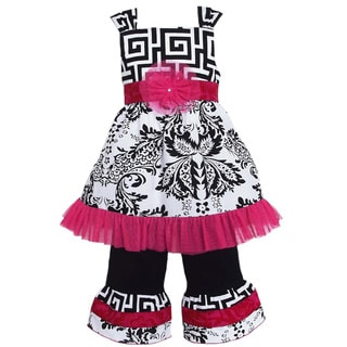 AnnLoren Girl's Mod Damask Dress and Capri Set