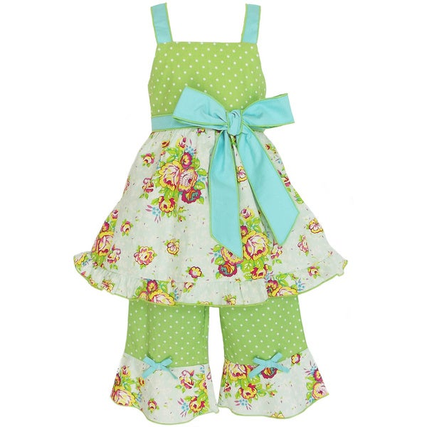 AnnLoren Girl's Floral Spring Polka Dot Shirt and Capri Set